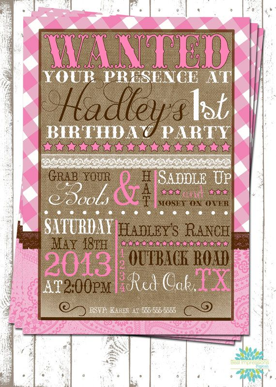 Cowgirl Cuteness -  A Customizable Birthday Invitation   Vintage Cowgirl Party   Pink and Brown Cowgirl Party   Western Party