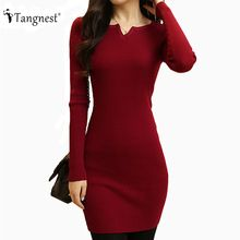 TANGNEST Women Sexy Sweater Dress 2016 Autumn Winter Fashion V Neck Bodycon Basic Mini Solid Color Knitted Dress WZQ208(China)