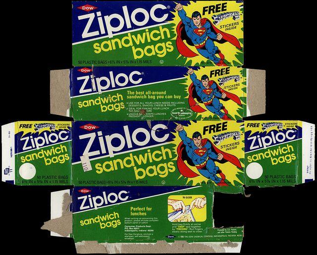 Dow - Ziploc sandwich bags - Free Superman III stickers - box - 1983 | Flickr - Photo Sharing!
