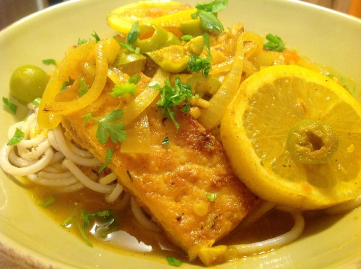 This Moroccan tofu in a lemon-olive sauce over spaghetti is a beautiful, colorful and light vegan dish for spring!