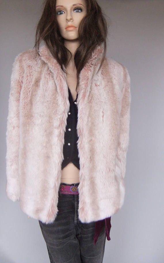 pink faux fur short coat pink fur vintage coat 80s vintage.