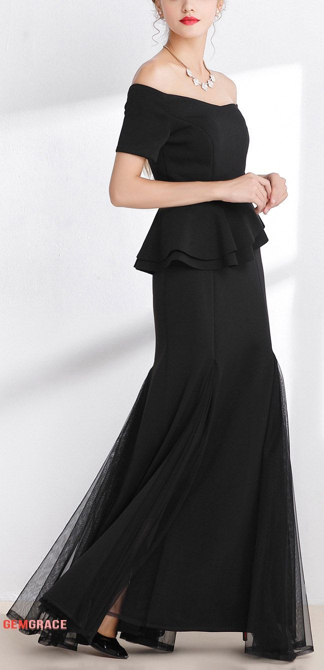 ... affordable formal dresses for special occasions. Formal black long  elegant dress with off shoulder 08100e75d