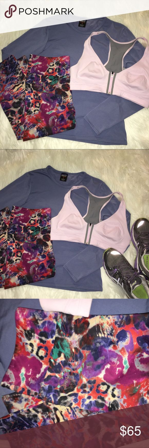 Patagonia workout outfit of three items size M/L This listing includes three items one long sleeve Patagonia shirt medium one legging capri multicolored onzie M/L and one VSX women's sports bra medium. All items are in gently used condition.  Shoes are not included in listing. Patagonia Tops Tees - Long Sleeve