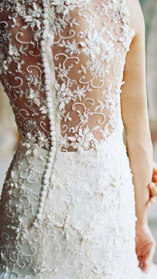 Lace And Those Tiny Buttons Sareh Nouri Bridal Fall 2014 Field Of Love Wedding Dress Illusion Back Detail