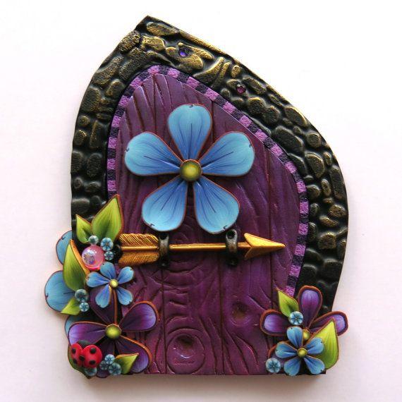 Purple Fairy Door Pixie Portal Fairy Garden Decor Miniature Polymer Clay Door with an Arrow  sc 1 st  Pinterest & 112 best Polymer Clay Fairy Doors images on Pinterest | Clay fairies ...