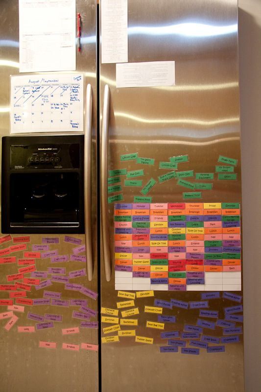 Each color is a category of activities (meals, parent involved preschool, quiet activity, church, etc.)