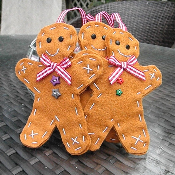 Gingerbread Man Christmas Felt Decoration by TheChristmasFairy, $6.00