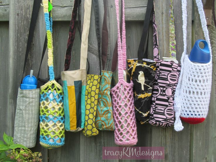 All my larger sized water bottle holders, as of July 10/15.  $12 for the sewn ones, $7 for the crocheted ones.