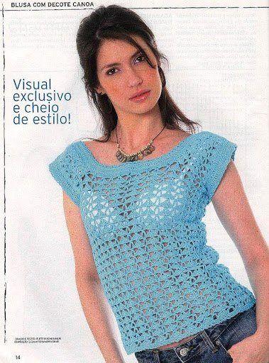 Patrón #788: Blusa Calada a Crochet