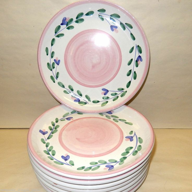 Lot of 4 Caleca Italian Pottery SALAD PLATES PINK GARLAND Dish Italy Dinnerware & 47 best Caleca images on Pinterest | Arm work Casserole dishes and ...