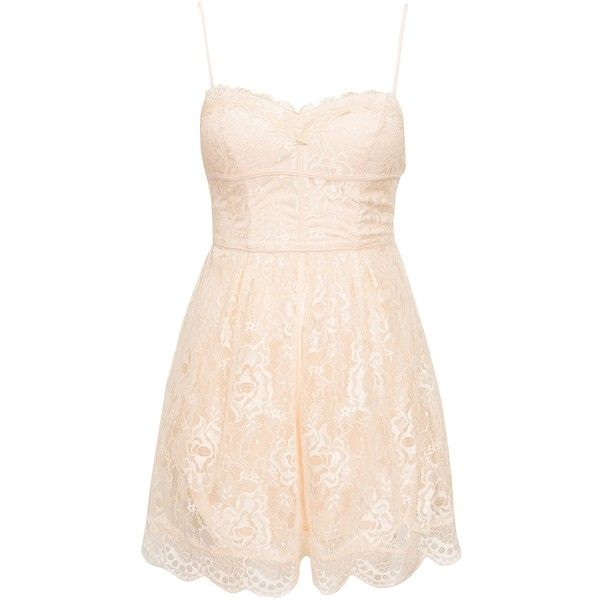 Nly One Lingerie Binding Dress ($34) ❤ liked on Polyvore featuring dresses, nude, party dresses, womens-fashion, nude lace dress, lace cocktail dress, slimming cocktail dresses, pink skater skirt and nude dress
