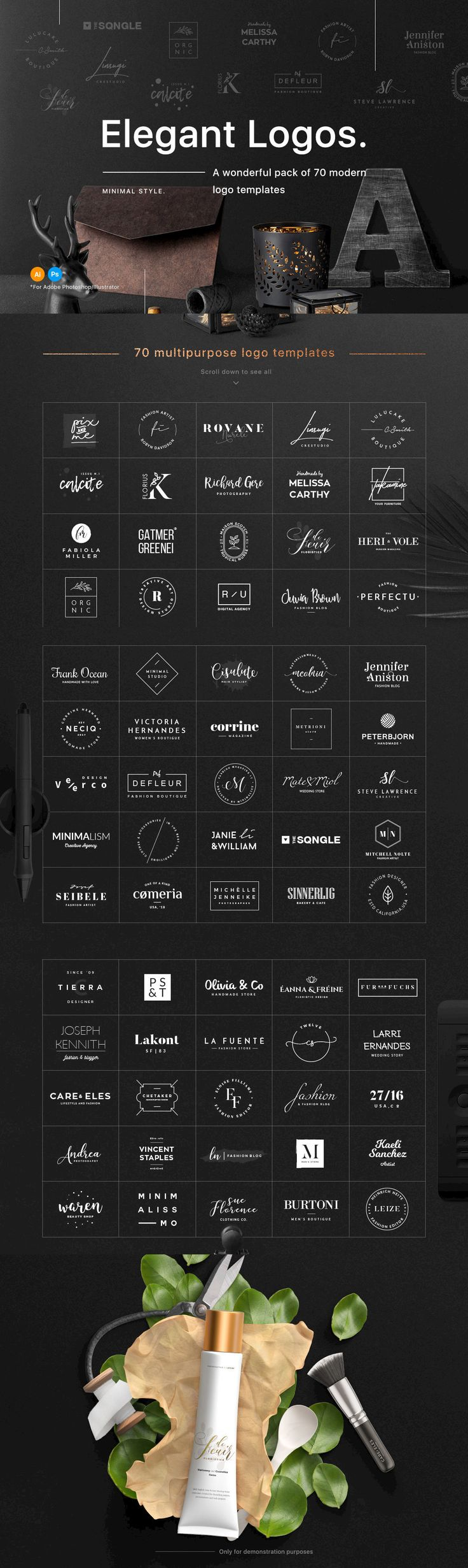 70 Elegant Logo Templates - A wonderful pack of 70 modern and clean logos that can help you to create perfe... http://jrstudioweb.com/diseno-grafico/diseno-de-logotipos/