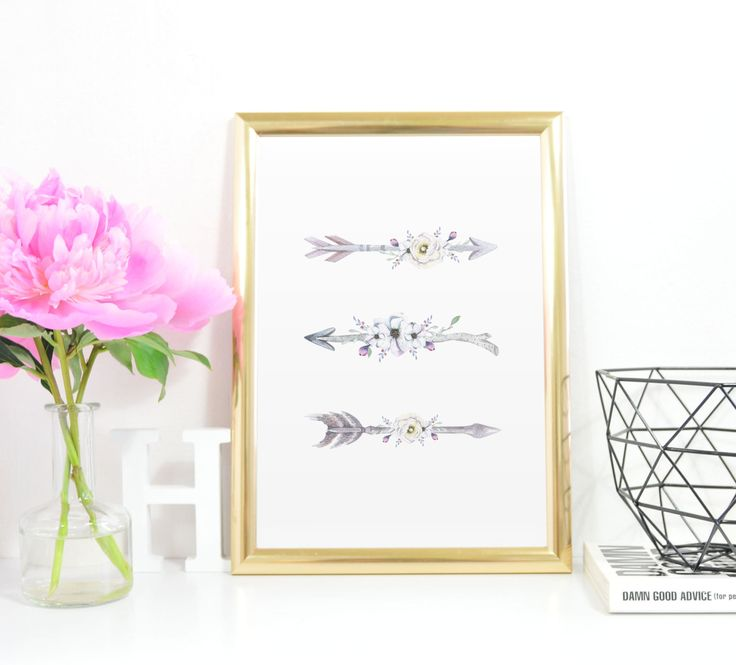 Boho Floral Arrows 3 printable A4 Instant Download Tribal Printable Pink Purple Grey Set of 3 Tribal Wall Art by InkBoutiqueDesign on Etsy