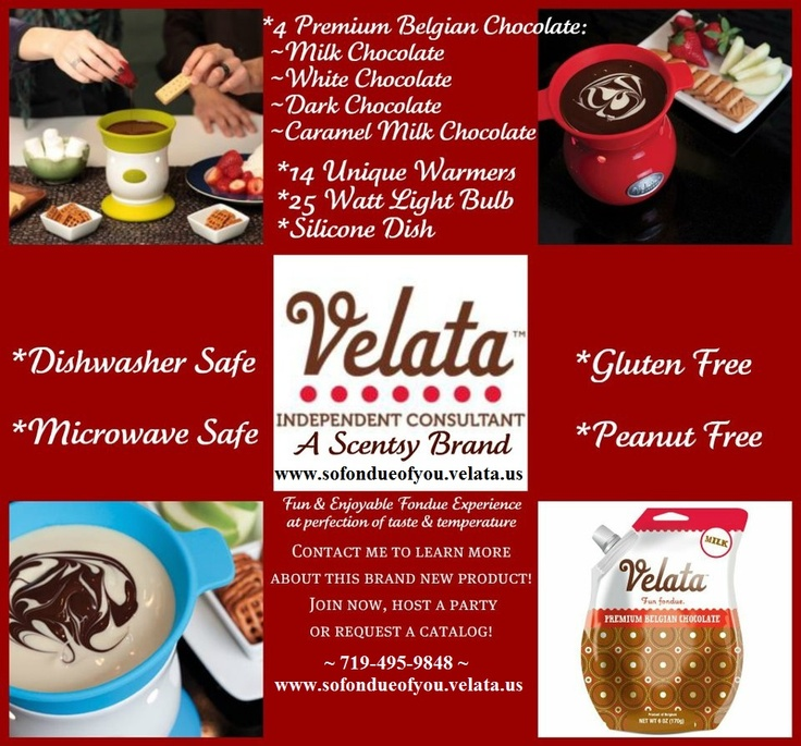 How could you take something as complicated as fondue & make it simple? In a flash of brilliance, it struck them. A Small group of clever, chocolate adoring Scentsy folks had a dazzling idea. What if we served scrumptious chocolate fondue in a plug a& play, fun to use warmer worthy of such fine chocolate? Velata fondue products are for you. Take a dip in indulgent Velata chocolate. Once you're hooked, make sure to take a look at the Velata opportunity. www.sofondueofyou.velata.us