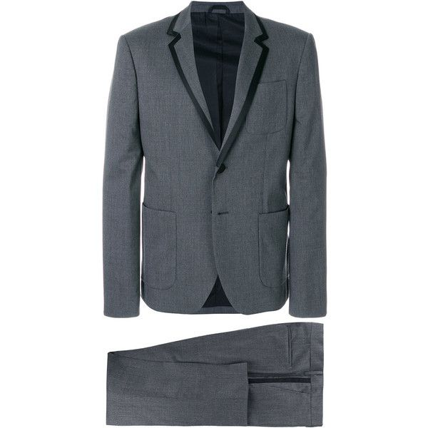 Pierre Balmain straight-fit formal suit (4.680 BRL) ❤ liked on Polyvore featuring men's fashion, men's clothing, men's suits, grey, mens formal suits, mens grey suits and mens gray suit