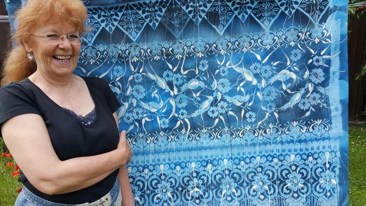Handmade painting on Blue cloth