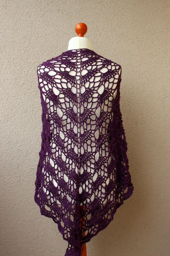dark plum crochet shawl acrylic shawl big oversize by OlaKnits