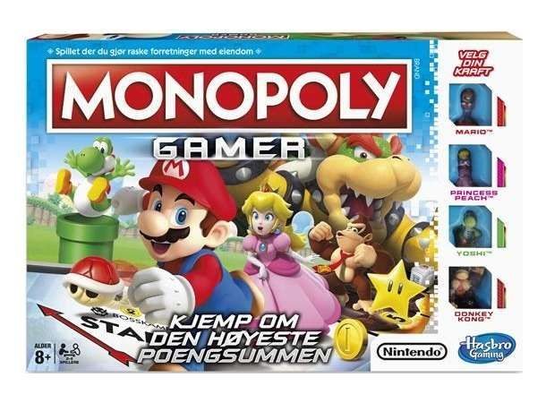 Monopoly Gamer Brettspill er klassiskMonopolmed ny vri,der Nintendos kjente figurer inntar spillflaten! Her kan du spille som Mario, Princess Peah, Yoshi eller Donkey Kong. I tillegg til å samle mest penger og eiendommer må du her beseire bossene! Spilleren med flest poeng vinner. Mario-mynter erstatter monopol-pengene.Antall spillere: 2-4Alder: 8+Spilletid: 60 minutter