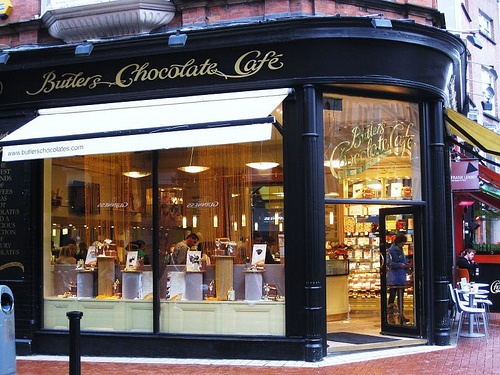 Stop by Butlers Chocolate Cafe in Dublin to enjoy hot chocolate or whiskey truffles