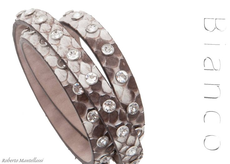 Rock python B890 bracelet with crystal Swarovski Elements by Roberto Mantellassi