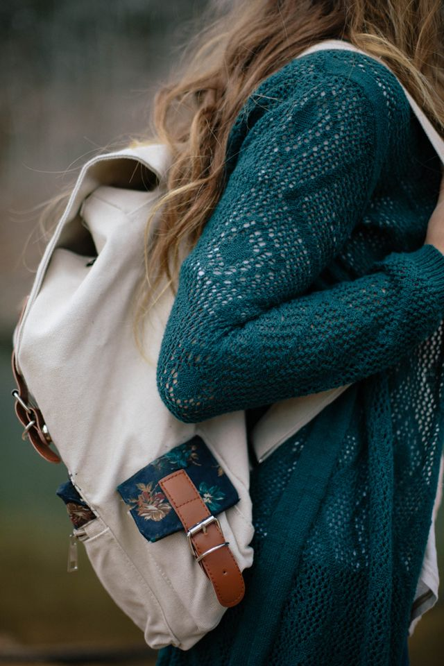 Awesome backpack & cardigan. Other great stuff on her blog tooo :]