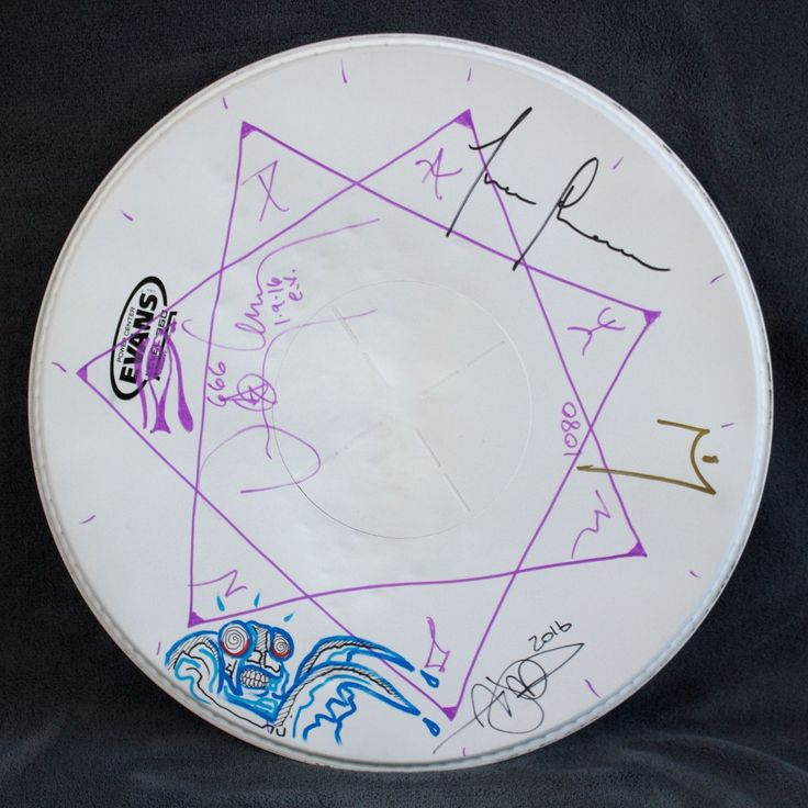 Tool - Band Signed Drum Head Merch W/ Drawings By Adam Jones & Danny Carey