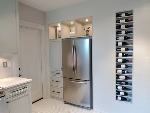love the wine rack: Wall Wine Racks, Kitchens Remodel, Idea, Wine Shelves, Bottle Stay, Built In, Remodel Kitchens, Wine Storage, Recessed Wine