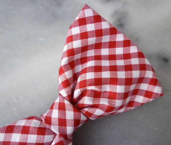Red and White Plaid Silk Bow Tie for boys  by DivineDomestication, $15.00