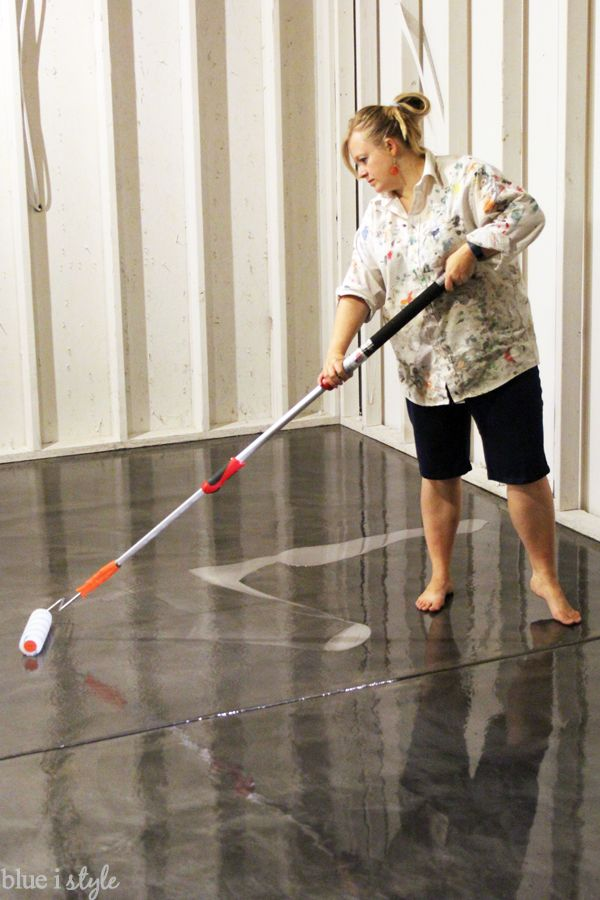 Applying anti-slip clear top coat over RockSolid metallic garage floor finish. #sponsored
