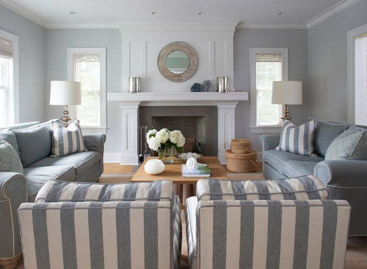 Gray and White Living Room maybe for the beach house I will own when I win the lotto Family room Pinterest