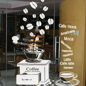 Coffee Shop Wall Sticker Espresso Coffee Machine Coffee Lettering Mural Art Wall Sticker Coffee Shop Window Glass Decoration