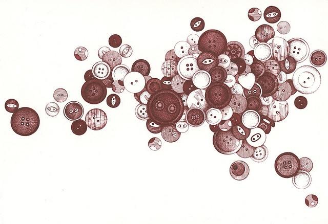More beautiful button artwork from Andrea Joseph's illustrations...
