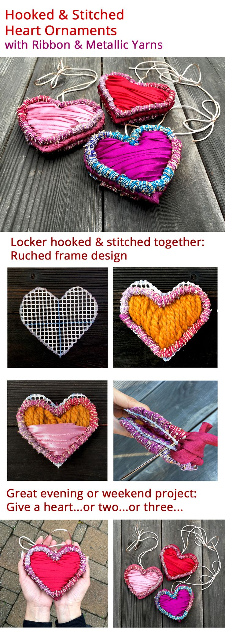 Create a vibrant and beautiful hooked and stitched heart ornament to give. Locker hooking kit includes all materials needed.