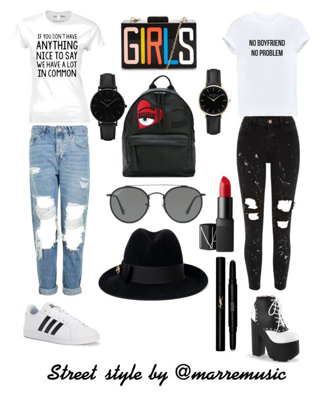 Sin título #42 by marremusic on Polyvore featuring polyvore, moda, style, Topshop, River Island, adidas, Chiara Ferragni, CLUSE, ROSEFIELD, Gucci, Ray-Ban, Yves Saint Laurent, NARS Cosmetics, fashion and clothing