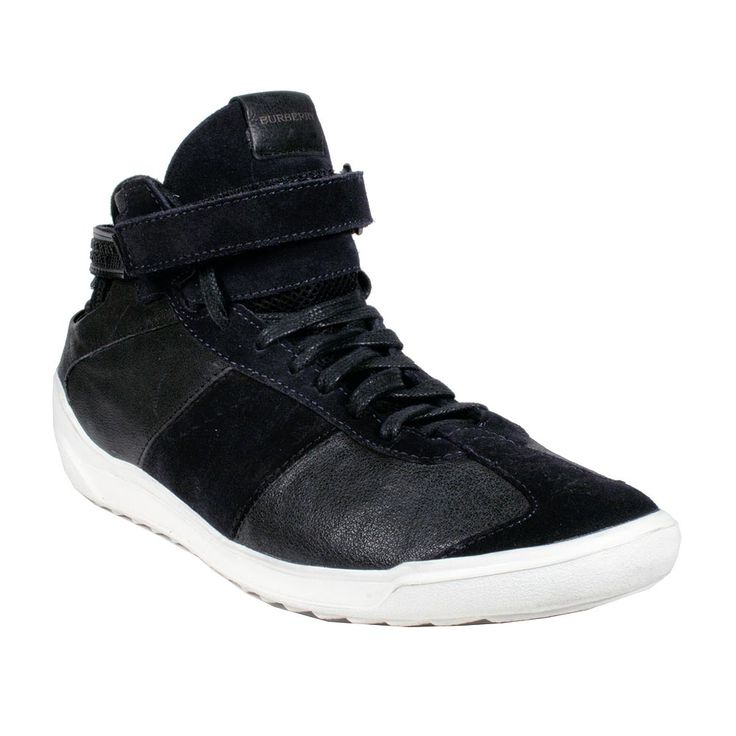Burberry Mens Shoes Black High-Top Leather Sneakers (BUR039)