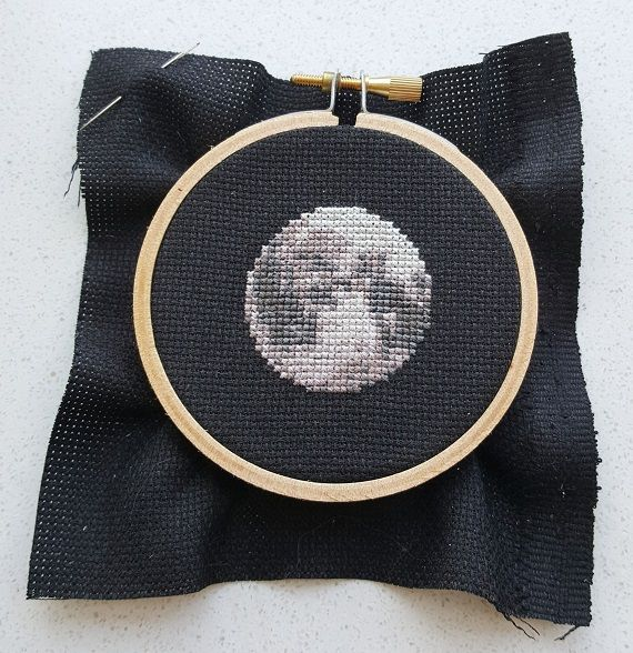 cross stitch moon in 3 inch embroidery hoop on black 13 count aida