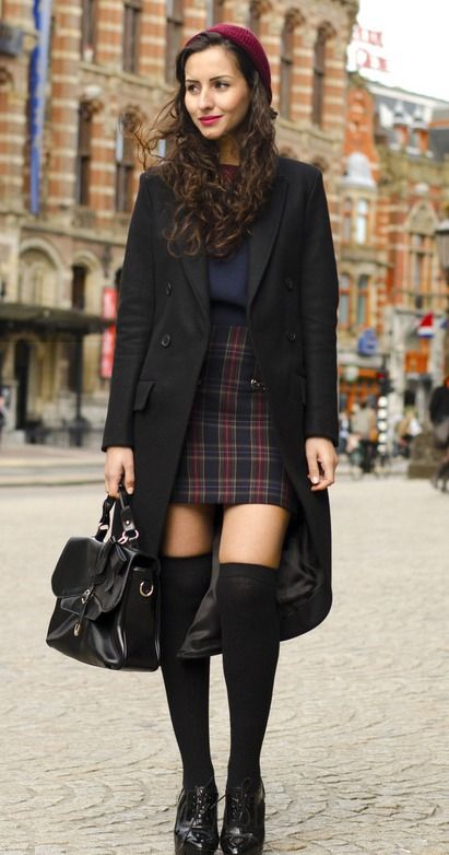 Tartan Preppy #fall--I especially love the knee socks! So cute! It reminds me of something Cher (from Clueless) would wear.
