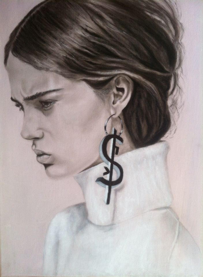 The Girl with Earring - Portrait - charcoal & acrylics on canvas
