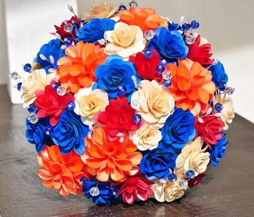 Deep Red, Burnt Orange and Royal Blue Bouquet for Weddings   AccentsandPetals - Wedding on ArtFire
