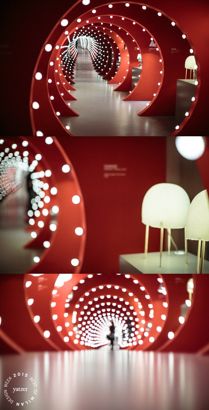 event . exhibition . The TUNNEL OF LIGHT installation by Ferruccio Laviani at Foscarini Spazio Brera. Kurage table lamp by Japanese studio Nendo with Italian designer Luca Nichetto for Foscarini.