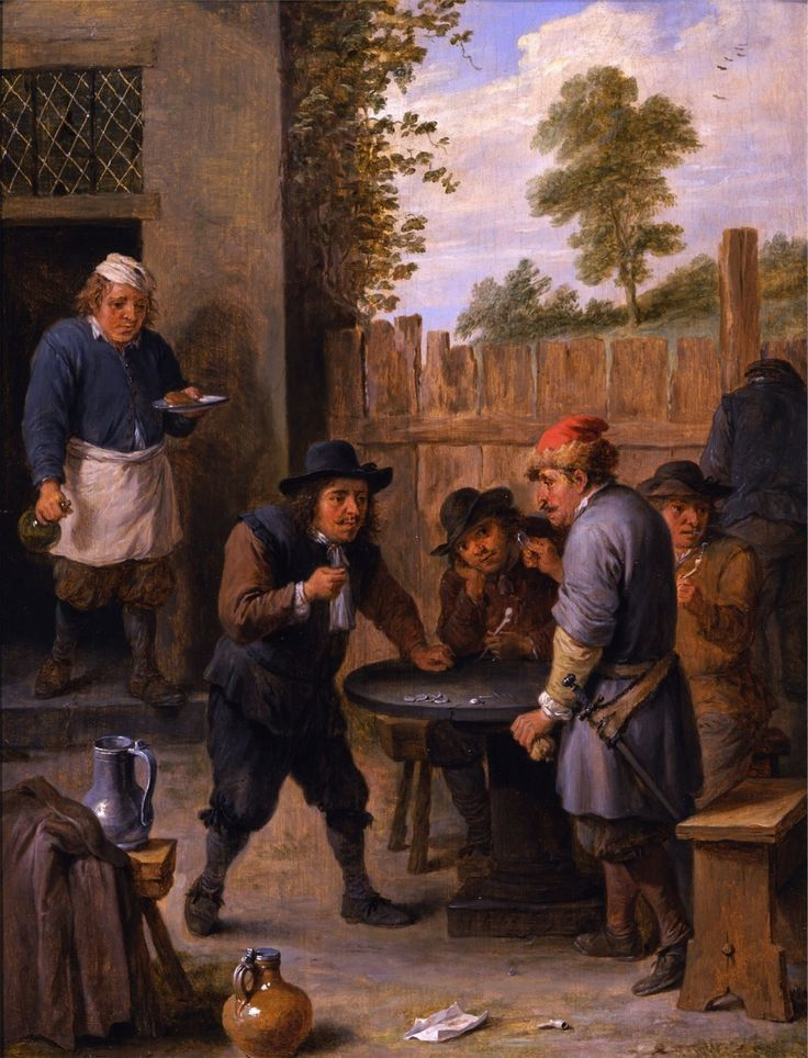 David Teniers The Younger - Peasants playing dice outside an inn