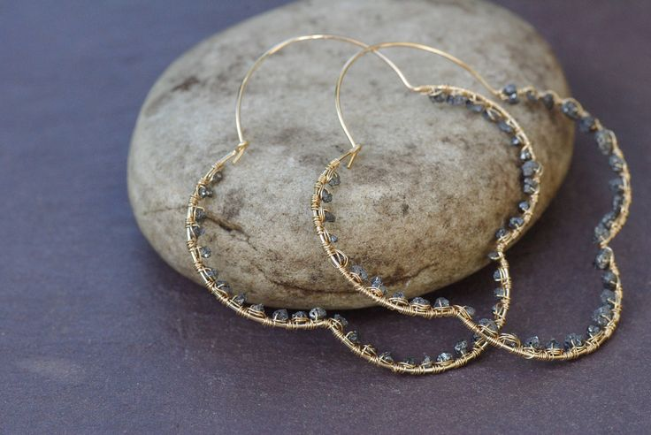 Gold Diamond Hoops, Black Diamond Hoops Light Weight Earrings Symmetrical Gold Earrings Gold Hoop Earrings Black Diamond Nuggets by BaileyBespoke on Etsy