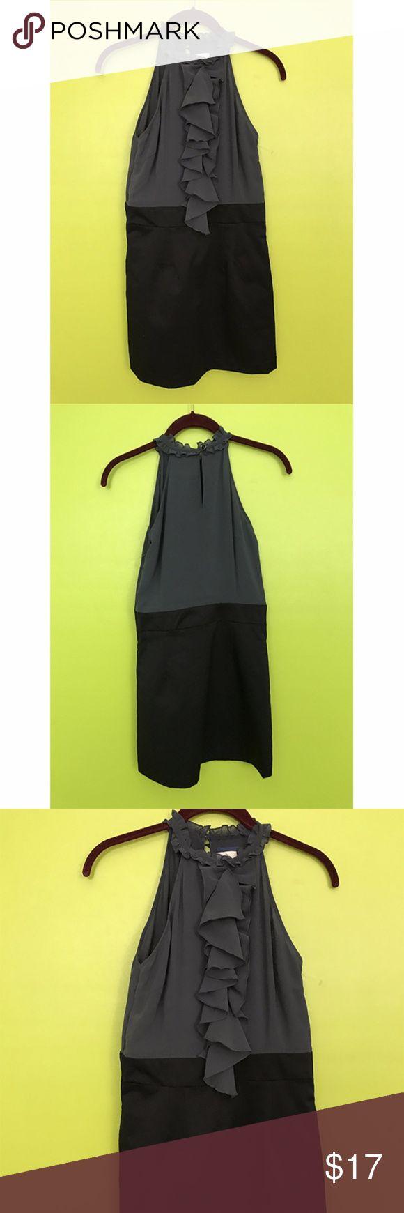 "Emmelee Anthropologie Ruffled Gray Black Dress S B720  Dress  Bust - 32"" Waist - 28"" Length - 31""  Emmelee Anthropologie Round Ruffle Neck Front Gray Top Black Skirt Dress Small  Free shipping on orders over $75 Emmelee Anthropologie Dresses"