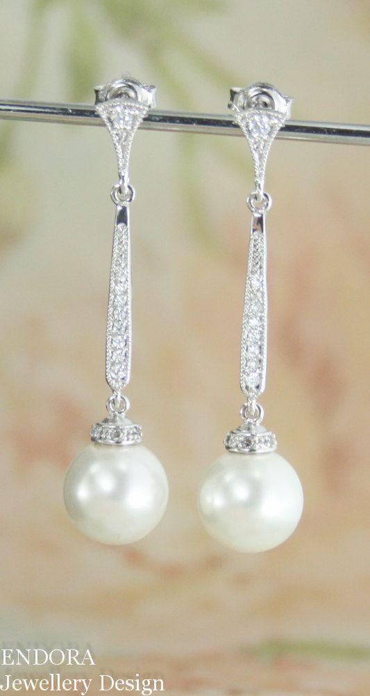 Handmade Freshwater Pearl Wedding Dangle Earrings, June Birthstone Rhinestone  Gemstone Teardrop Jewelry