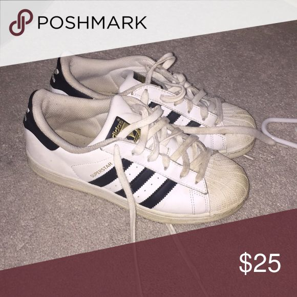 Adidas superstars size 5 in children's, but fits like a women's 7/7.5 adidas Shoes Sneakers