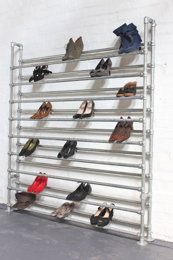 Extra Large Galvanised Steel Pipe Shoe Rack by inspiritdeco