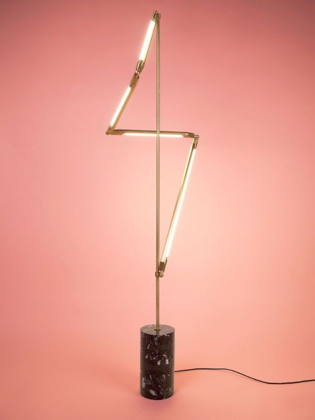 Floor standing lamp / original design / brass / LED HELIX by Bec Brittain Triode Design
