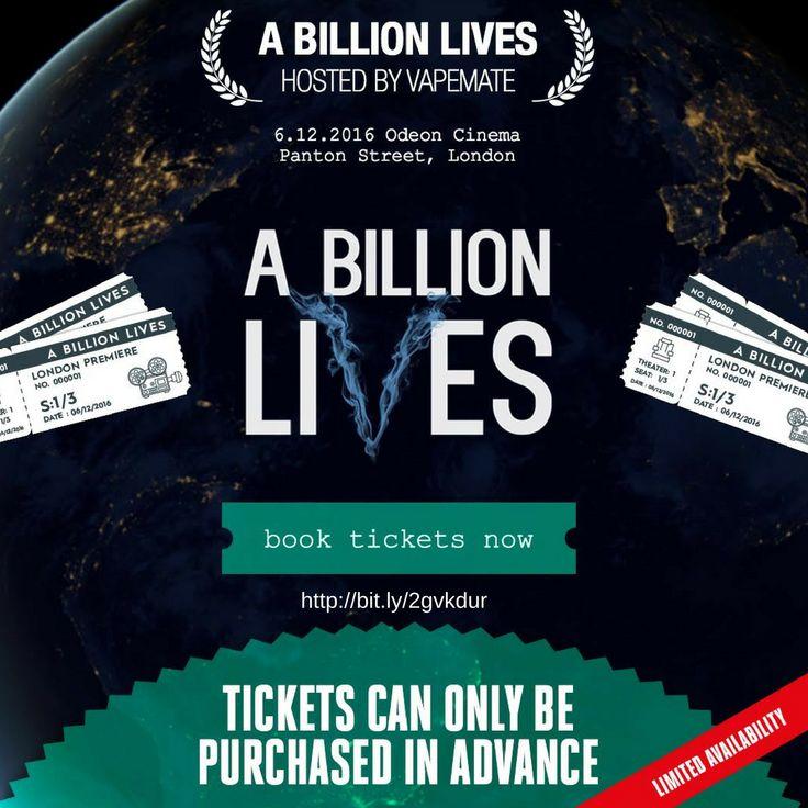 Book tickets for the A Billion Lives premiere on December 6 https://tickets.demand.film/event/1269 #abillionlives #vapefilm #vape #vaper #vaping #ukvapers #ukvape #vapeuk #vapelife #ecig #eliquid #ecigarettes #girlswhovape #quitsmoking #smokingfacts #vapeon #vaperevolution #vapenation #vapestagram #vapefriends #vapefam #ecigarettes #vapejuice #vaperazzi #vapelove #vapecommunity