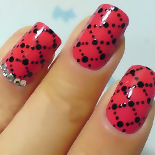 Love this - could just do on one accent nail if pressed for time...do the other nails either red or black?