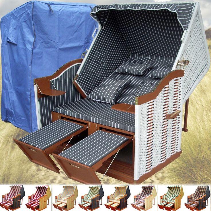 Luxury Details zu wei er Sylt Ostsee Volllieger Strandkorb XXL Schutzh lle Gartenliege Strandstuhl